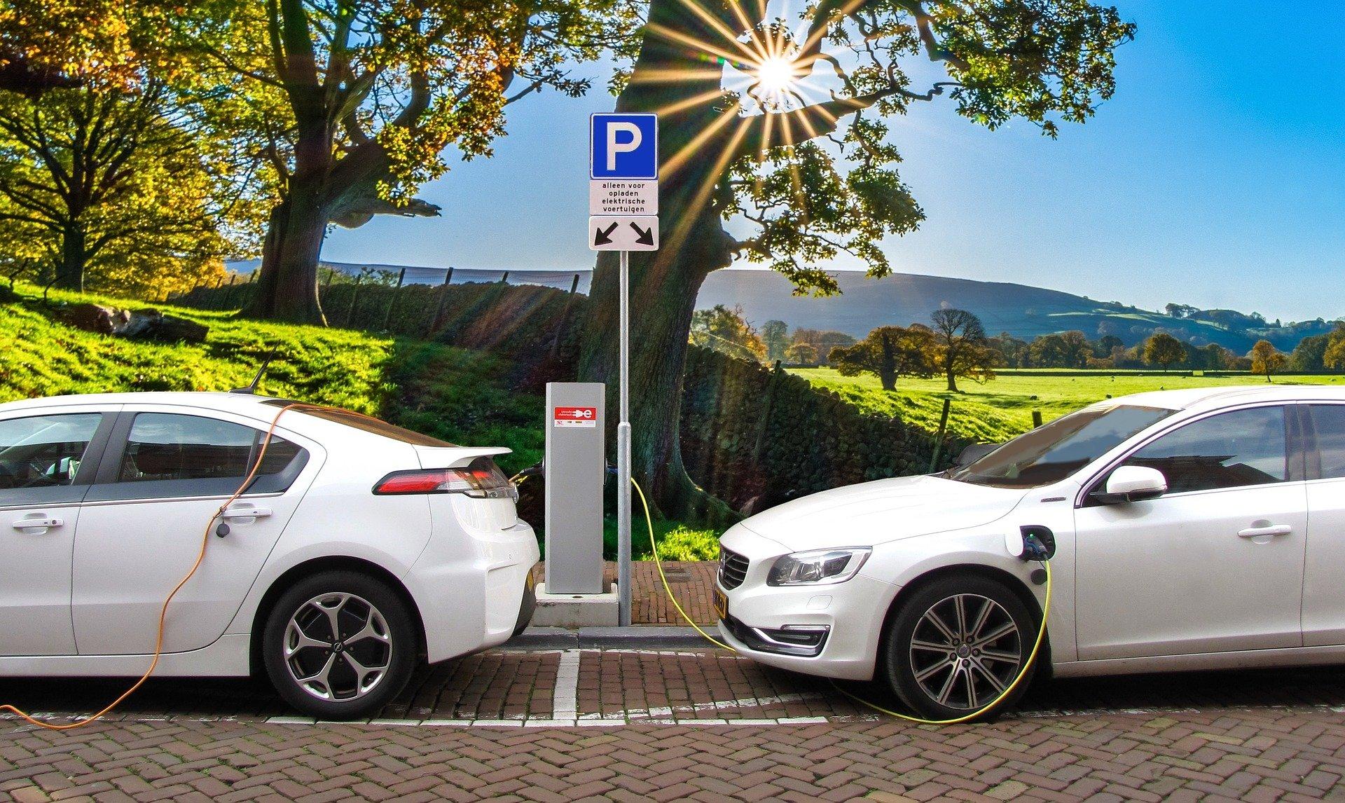 Zwei weiße Elektroautos werden gerade geladen.